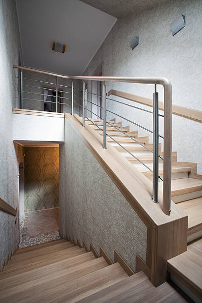 Staircase in a new house stock photo