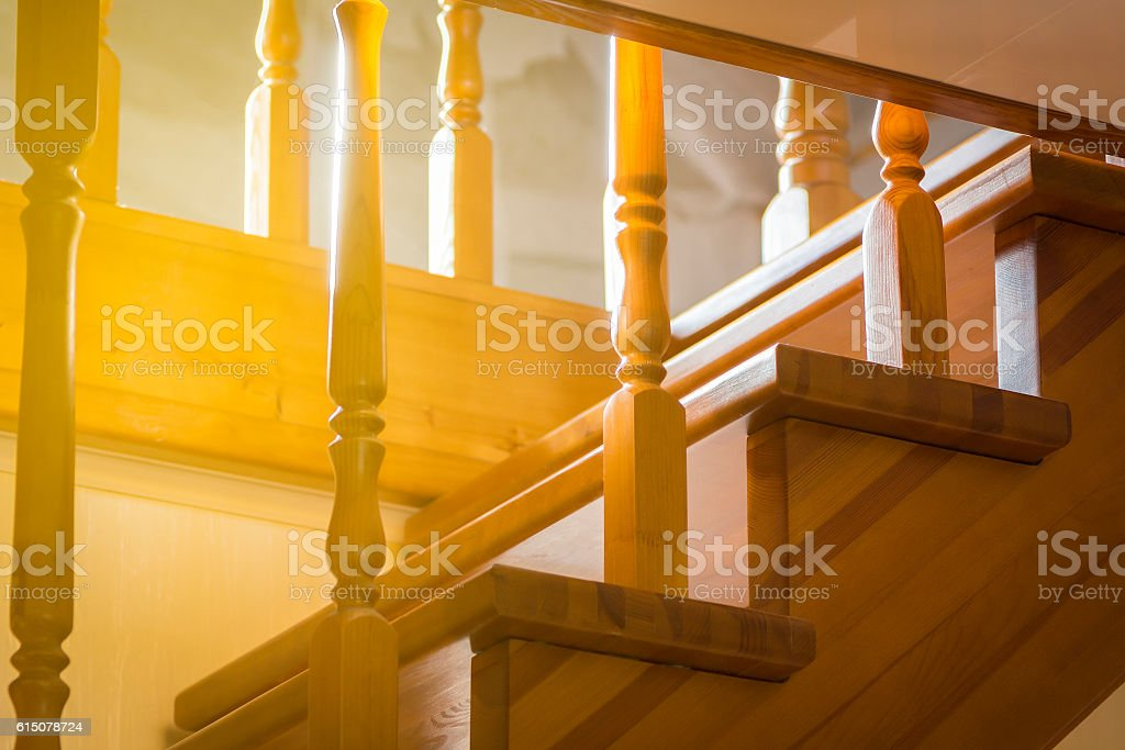 Staircase in a private house stock photo
