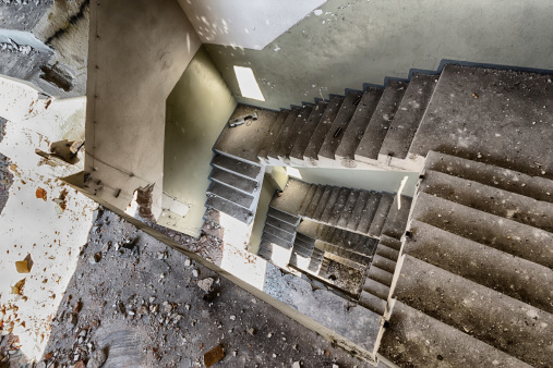 Staircase in an abandoned warehouse in Poland