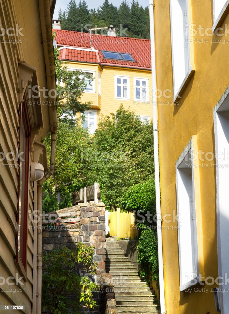 Staircase in Bergen in a sunny summer day foto stock royalty-free