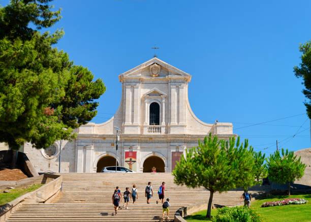 Staircase in Chiesa Bonaria Church in Cagliari Sardinia stock photo