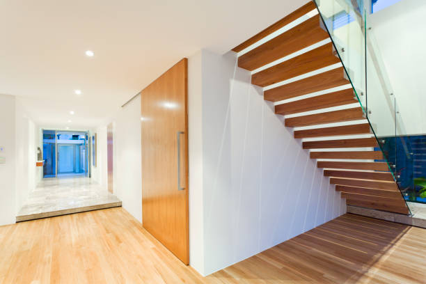 Staircase in modern house stock photo