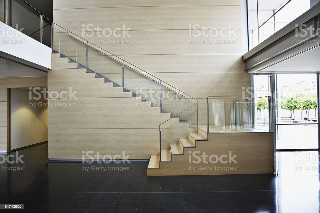 Staircase in modern office building stock photo