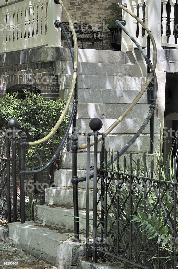A staircase in Savannah Georgia with steps and a railing. royalty-free stock photo