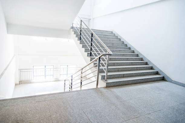 staircase in school building - staircase stock photos and pictures