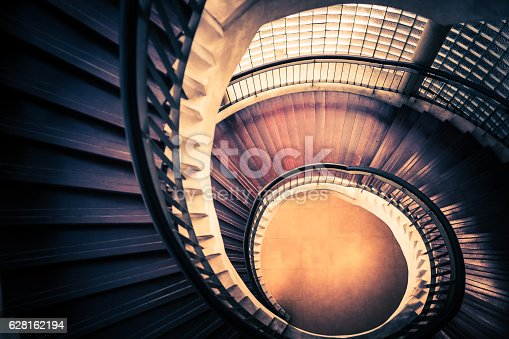 istock Staircase in spiral or swirl shape, abstract or architecture concept 628162194