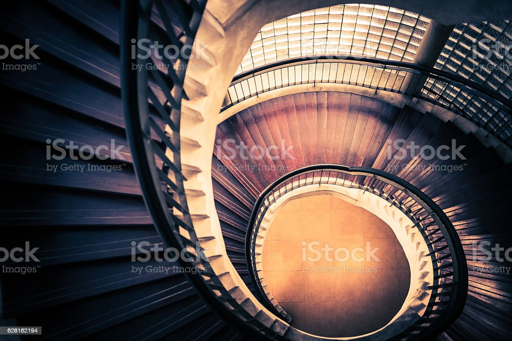 Staircase in spiral or swirl shape, abstract or architecture concept stock photo