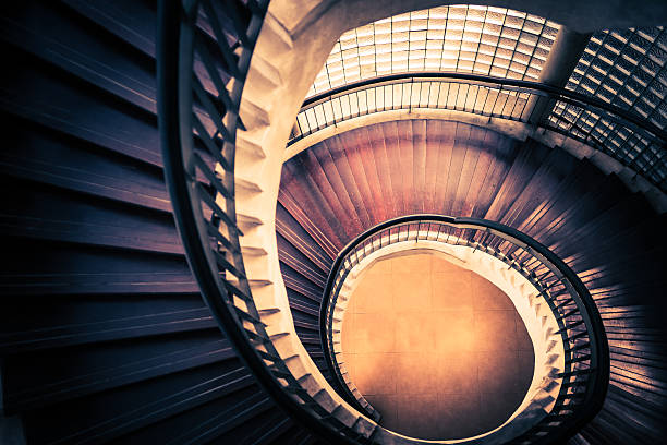 staircase in spiral or swirl shape, abstract or architecture concept - golden ratio stok fotoğraflar ve resimler