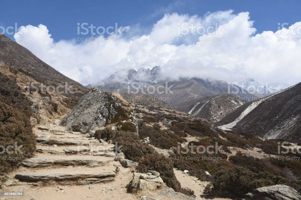 Staircase in the Himalayas, Nepal stock photo