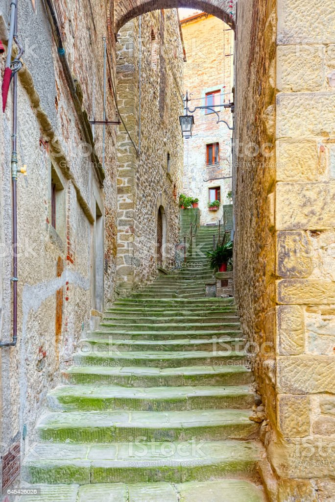 Staircase in the medieval heart of Anghiari, Arezzo, Tuscany stock photo