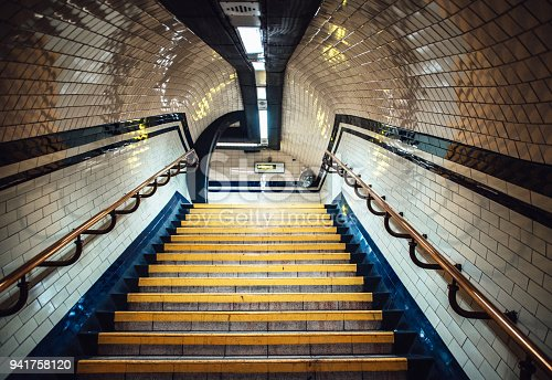 A staircase inside a London Underground station.