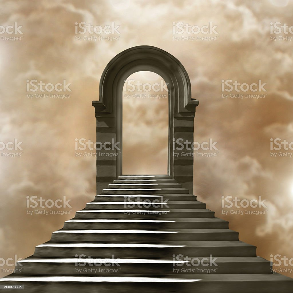 Staircase leading  heaven or hell Light  End of the Tunnel stock photo