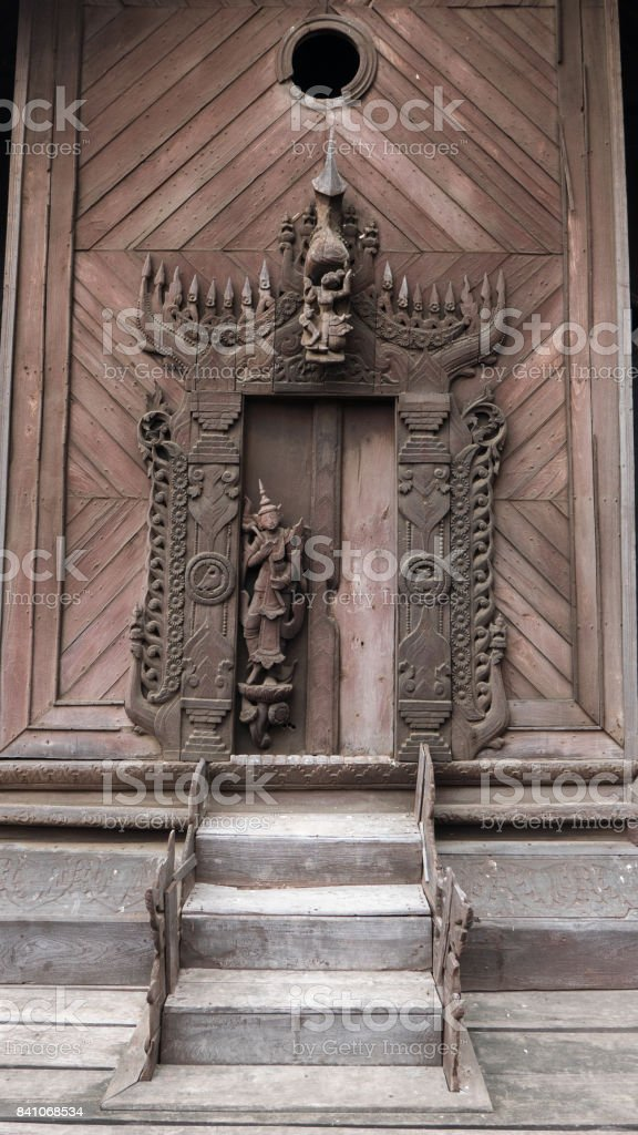 Staircase Leading to Carved Wooden Door, Shwe In Bin Kyaung Monastery, Mandalay, Myanmar (Burma) stock photo