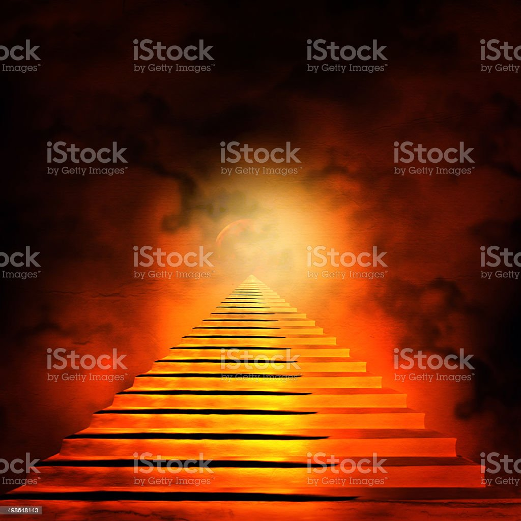 Staircase leading to heaven or hell. Light   End of Tunnel stock photo