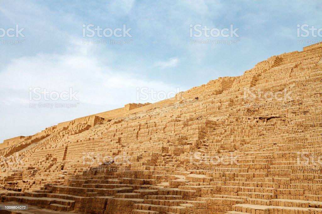 staircase of clay bricks in a pyramid of the ruins of huaca pucllana