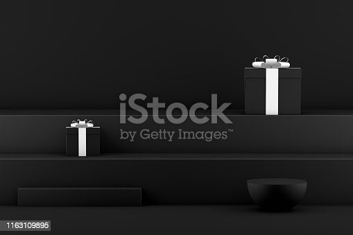 istock 3D Staircase, Podium, Product Stand, Black Friday Concept 1163109895