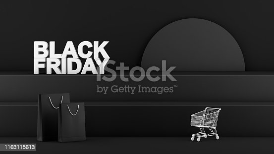 istock 3D Staircase, Podium, Product Stand, Black Friday Concept 1163115613