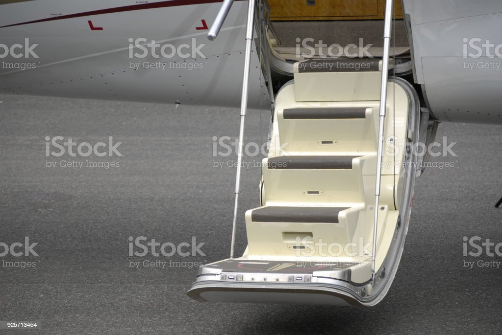 staircase to a jet stock photo