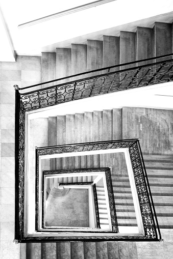 Interior staircase with black iron railing