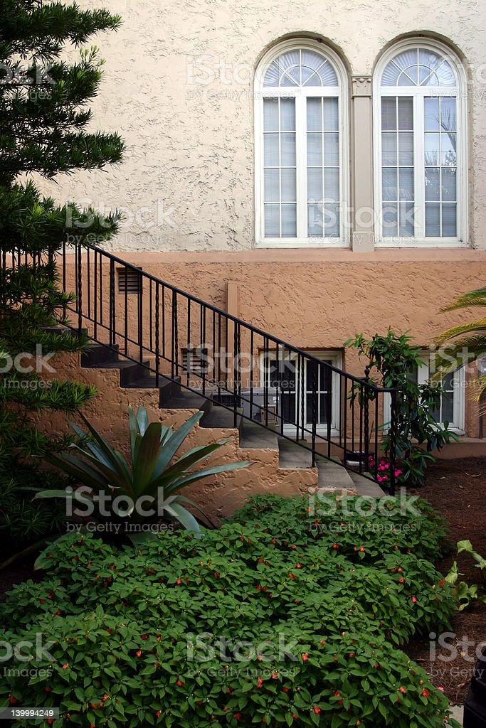 Staircase windows and garden in downtown Lakeland Florida stock photo