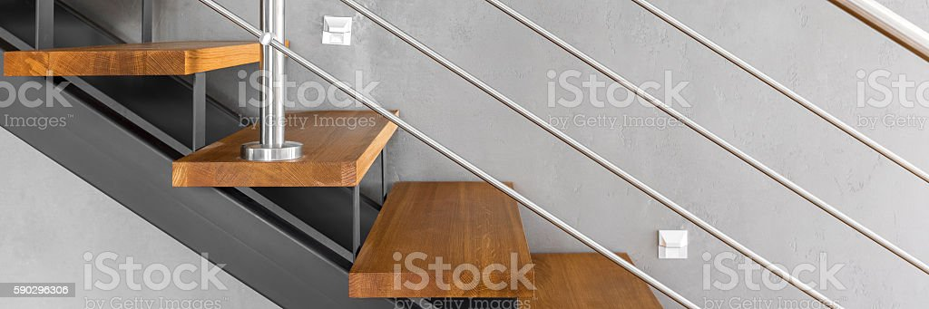 Staircase with chromed railing royaltyfri bildbanksbilder