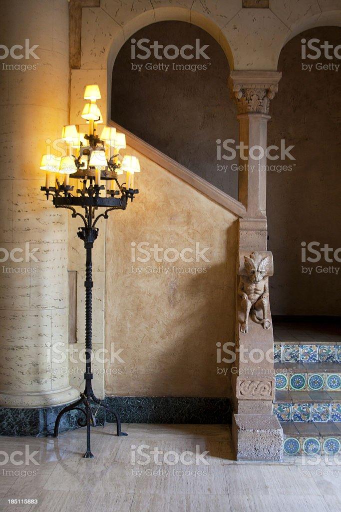 Staircase with gargoyle stock photo