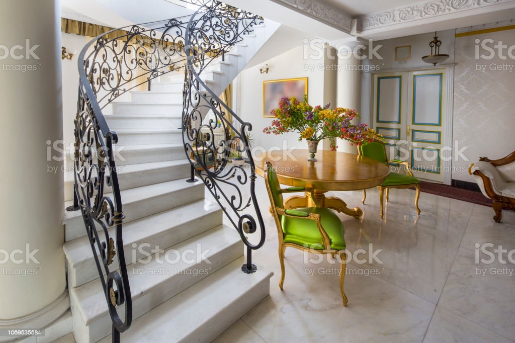 Image of: Staircase With Handmade Wrought Iron Railing Luxury Lobby Interior Stock Photo Download Image Now Istock