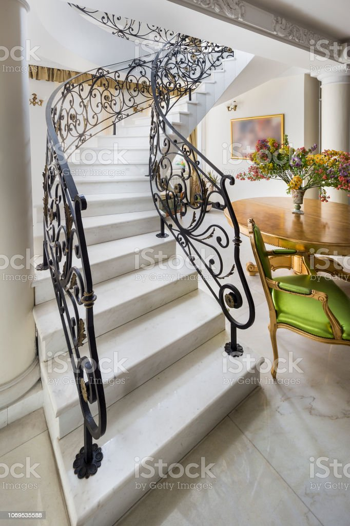 Staircase With Handmade Wrought Iron Railing Luxury Lobby Interior Stock Photo Download Image Now Istock