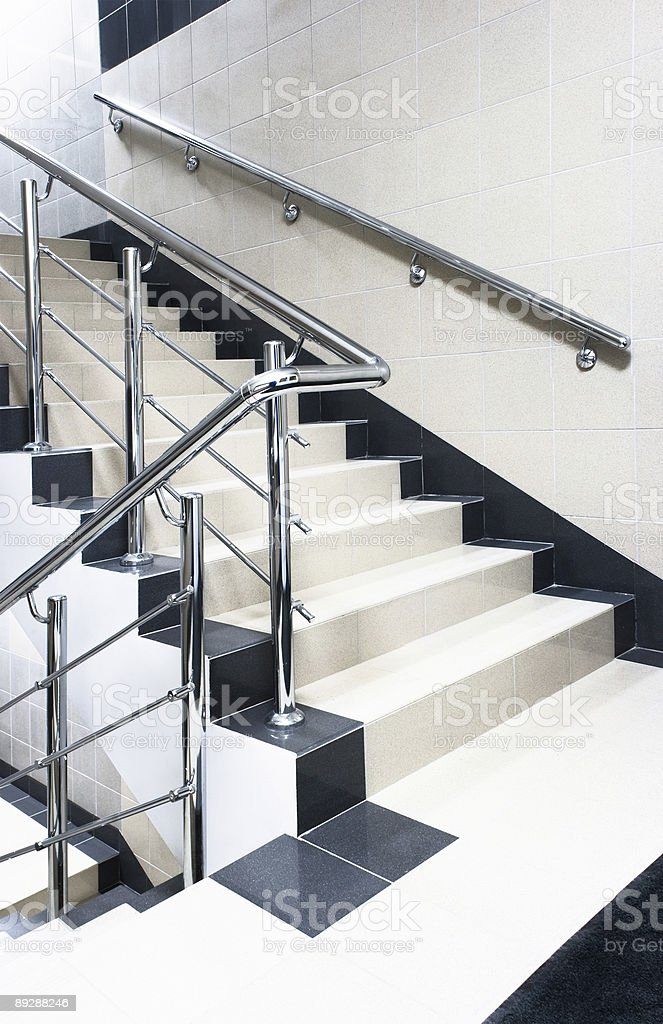 staircase with stair railing royalty-free stock photo