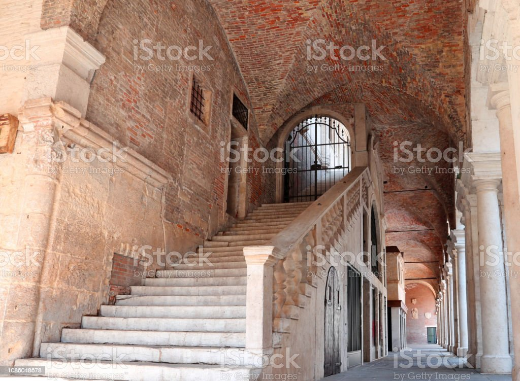 staircase with stone steps to climb above the Palladian Basilica in the city of Vicenza - foto stock