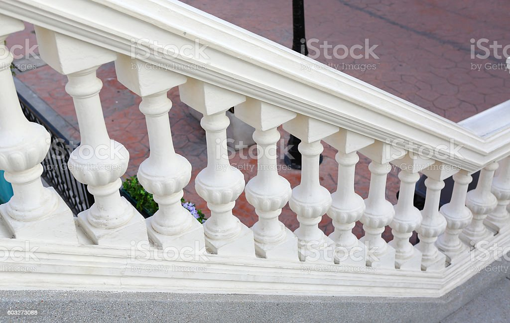 Staircase with white plaster railings stock photo