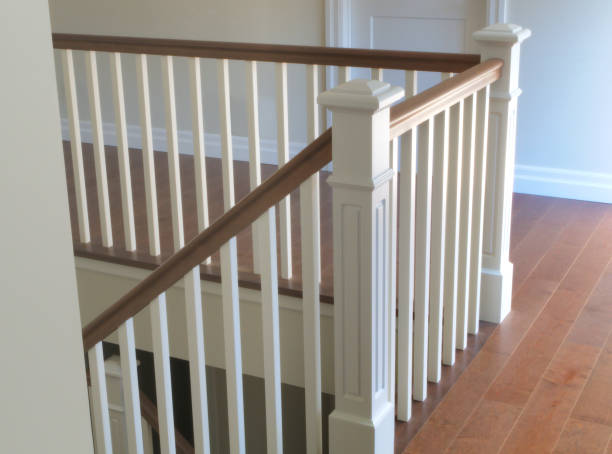 staircase wood white modern classic stairs interior stock photo