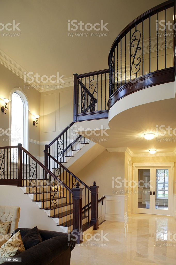staircase wrought iron hand rail luxury estate mansion home interior stock photo