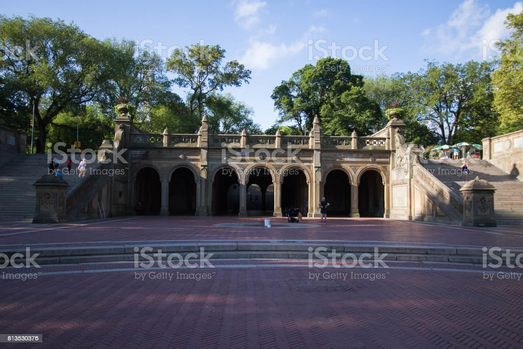 Staircases of Bethesda Terrace at Central Park stock photo