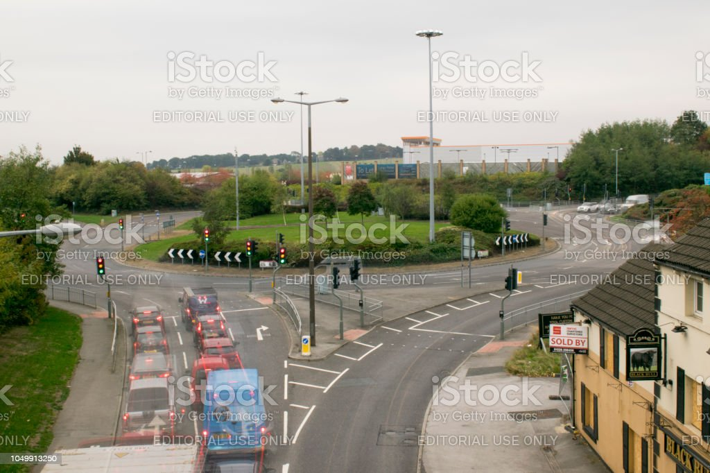 Stairfoot Roundabout Barnsley Rush Hour Traffic Long Daylight Exposure 8am 5th October 2018 stock photo