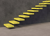 stairs, yellow, background, 3d rendering