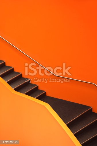 istock Stairs, abstract orange staircase 172159120