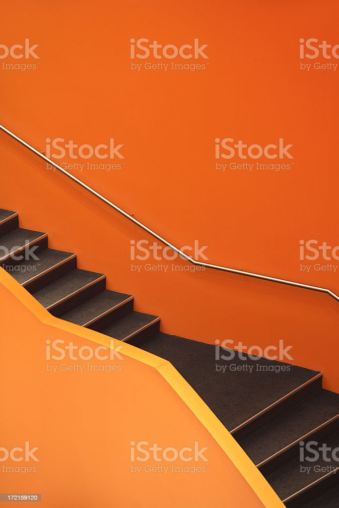 Stairs, abstract orange staircase stock photo