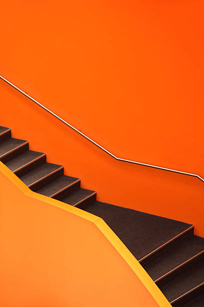 Escaleras, abstract orange escalera - foto de stock