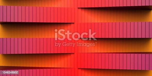 red stair abstrat illusion background. 3D Illustration