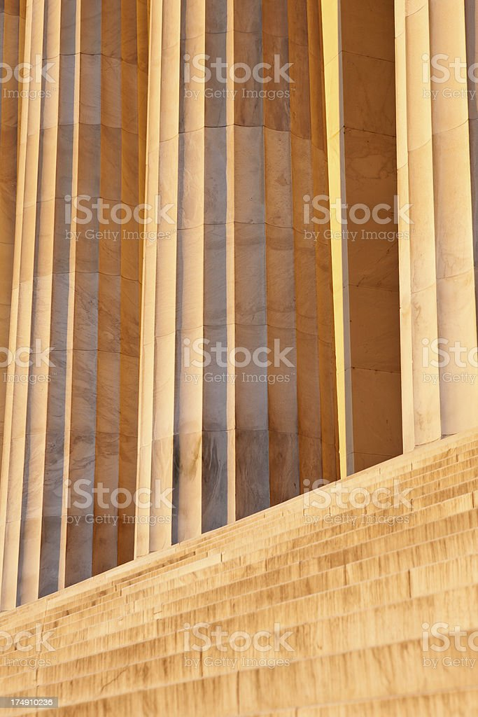 Stairs and Columns At Lincoln Memorial In WA DC royalty-free stock photo
