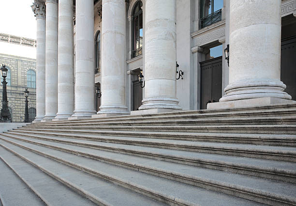 Stairs and columns. stock photo