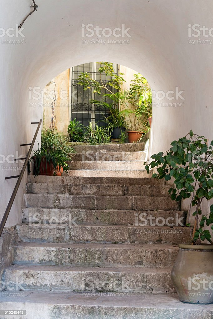 Stairs and door stock photo