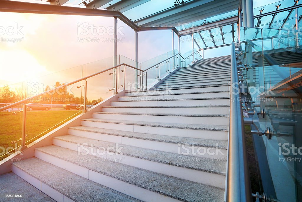 stairs and sky on background with no people stock photo