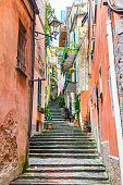 Narrow street and stairs of Monterosso, Cinque Terre, Italy
