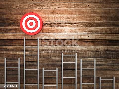 1014851458 istock photo Stairs and Target on Wood Wall Background - 3D Rendering 1249438216