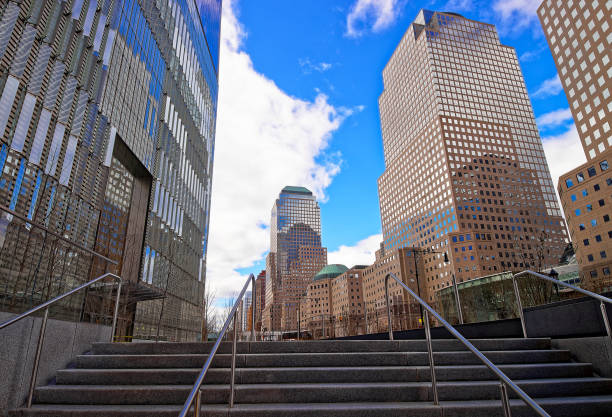 Stairs at Three World Financial Center in Financial District USA stock photo