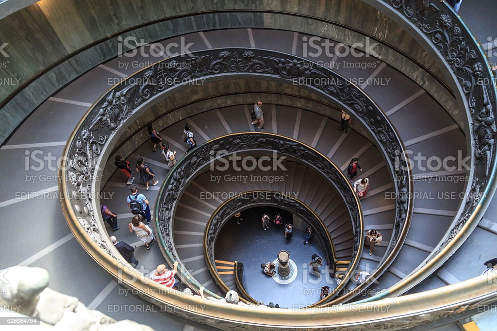 Stairs at Vatican Museum stock photo