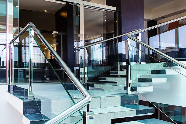 stairs beautiful interior of  modern hotel with use of metal - geländer stock-fotos und bilder