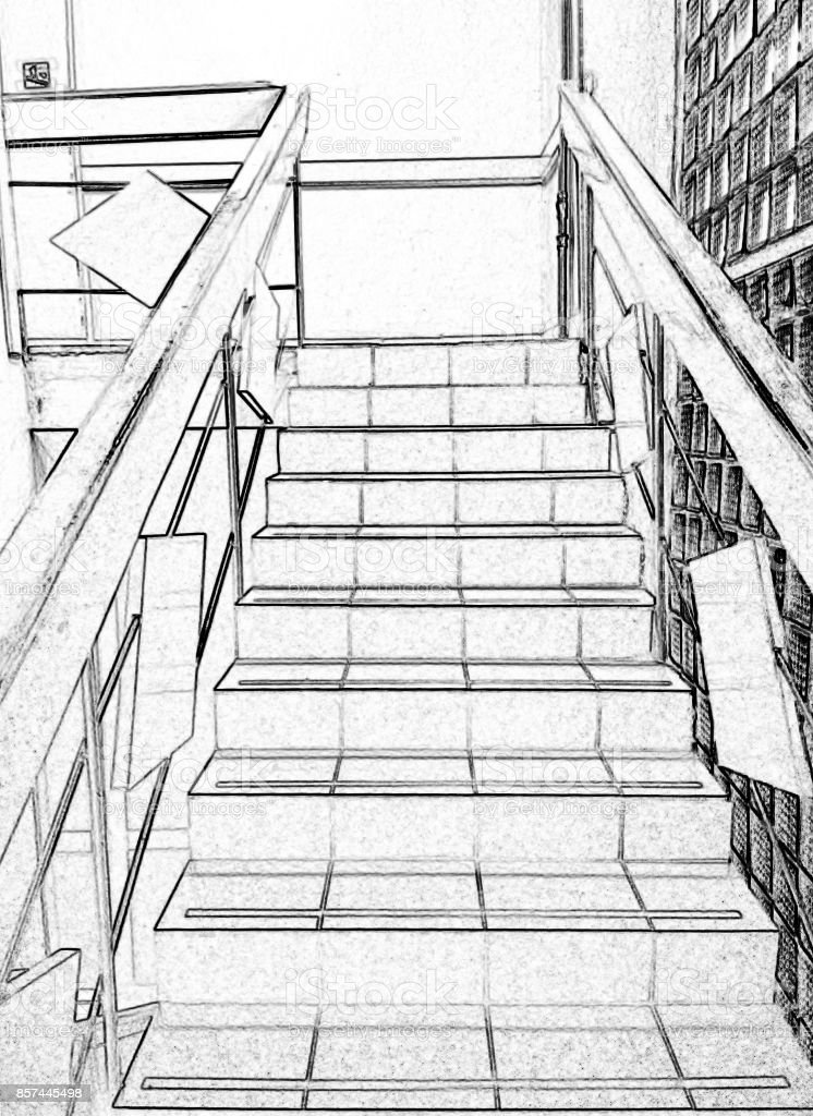 Stairs, climbing up, black and white, drawing, photo processing. stock photo